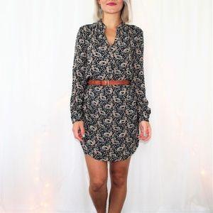 LOFT Black Floral Pattern Lined Mini Dress Size SP